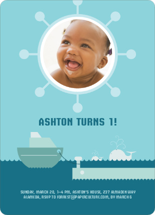 One Fish, Two Fish Photo Birthday Invitation - Teal