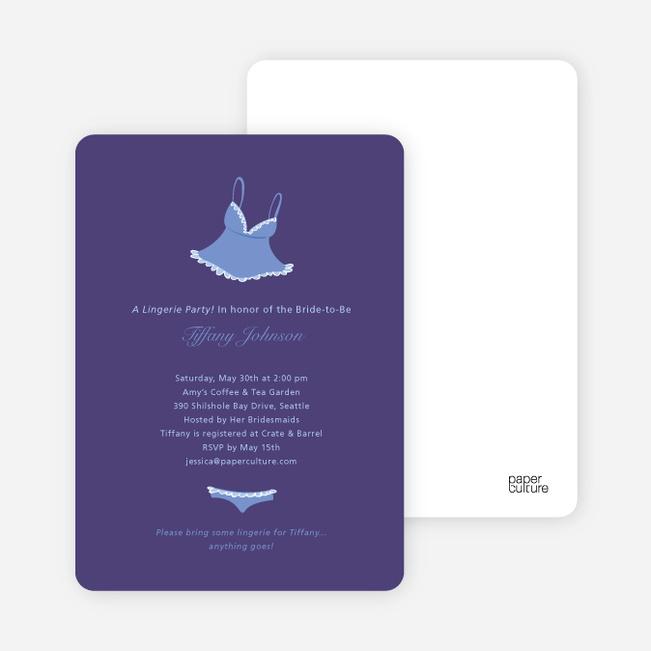 Ooh La La Bridal Shower Invitations - Lovable Lavender