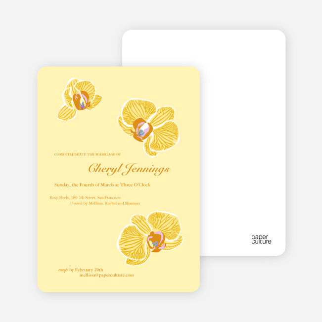 Orchid Bridal Shower Invitations - Lemon Yellow