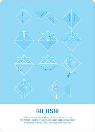 Origami Fish Party Invitations - Cobalt