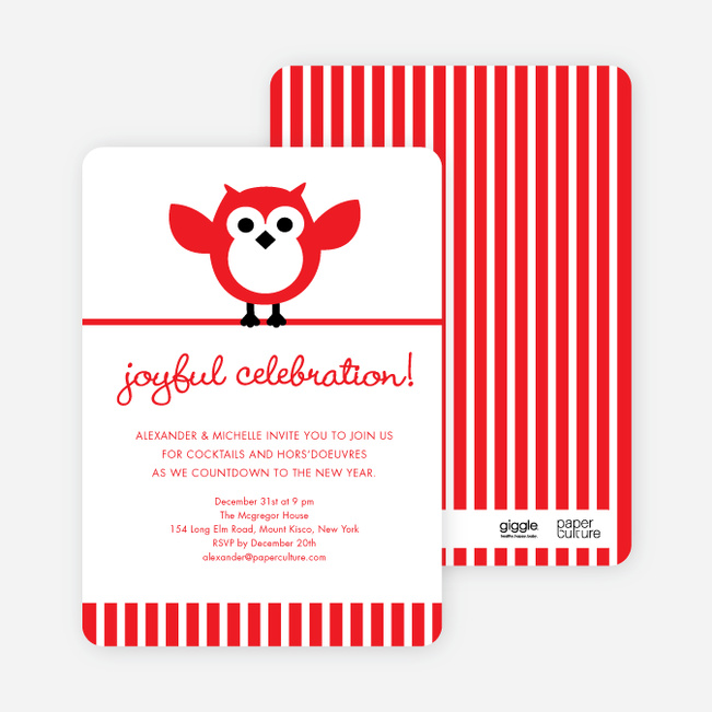 Owl Holiday Party Invitations by giggle - Red