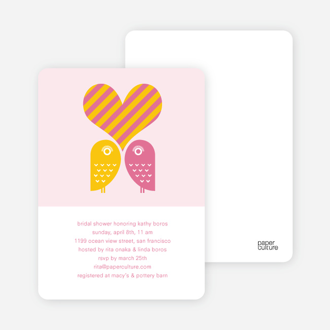 Owls in Love Bridal Shower Invitations - Hot Pink