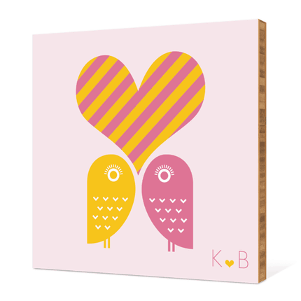 Owls in Love Bamboo Wall Art - Hot Pink