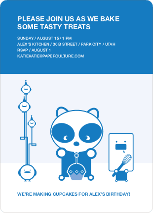 Panda Cupcake Birthday Party Invitation - Royal Blue