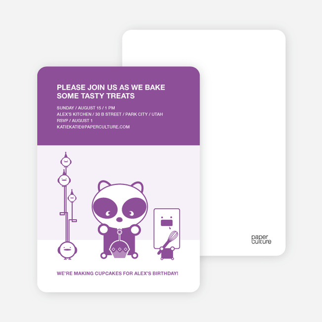 Panda Cupcake Birthday Party Invitation - Purple