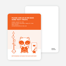 Panda Cupcake Birthday Party Invitation - Tangerine Orange