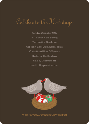 Partridge in a Pear Tree Holiday Invitations - Cocoa