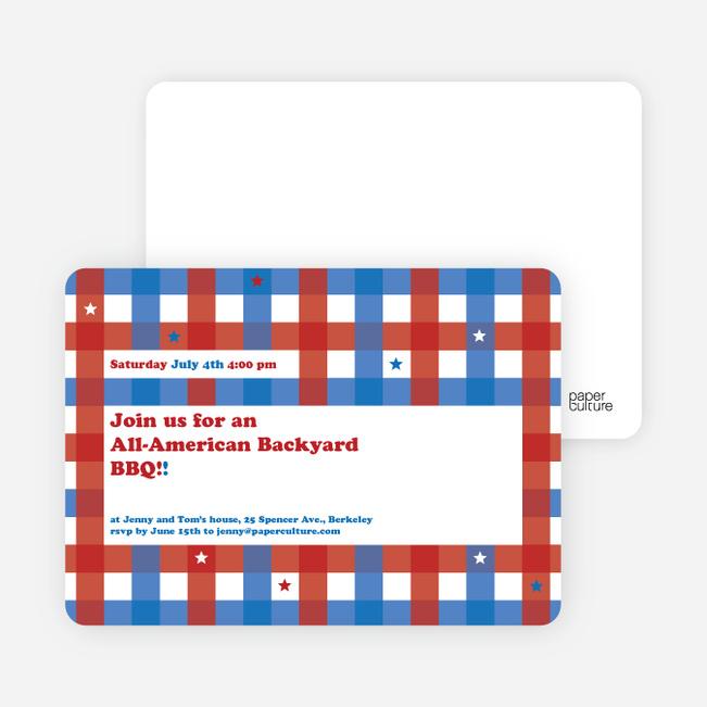 Patriotic American BBQ Party Invitations - Scarlet