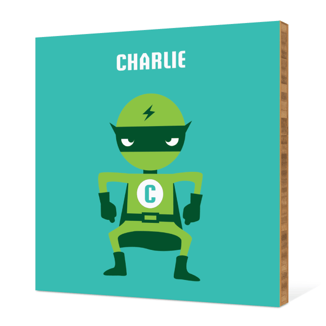 Customizable Super Hero Bamboo Wall Art - Teal