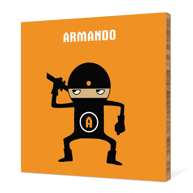 Ninja Bamboo Wall Art - Bright Orange