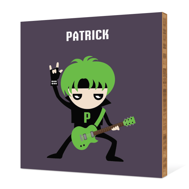 Guitar Hero / Rock Band Bamboo Wall Art - Green Guitar