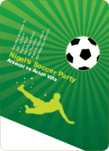 Soccer Party Invitation - Flourescent Green