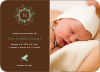 Peaceful Wreath and Dove Baby Announcement - Coffee
