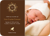Baby Announcements with Peaceful Wreath and Doves - Coffee