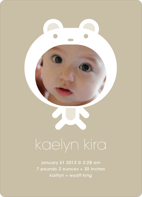 Baby in Cuddly Bear Outfit Baby Announcement - Beige
