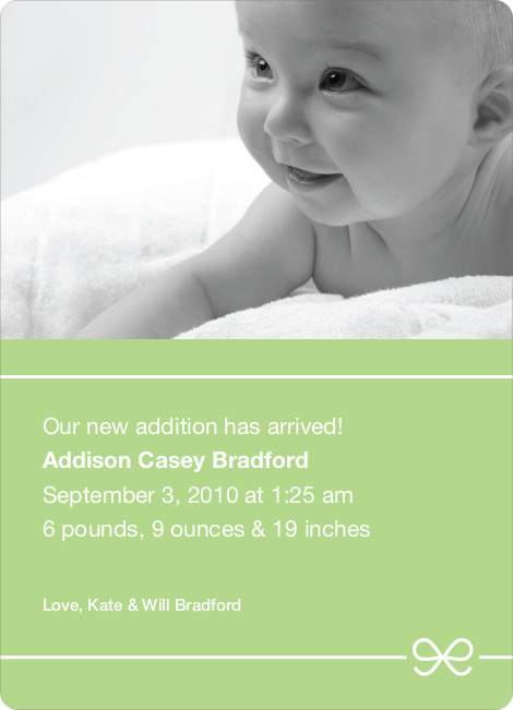 Green Bow Modern Baby Announcement - Pale Green