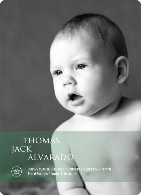 Studio Series Photo Birth Announcements - Pale Green