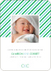 Diagonal Stripes Modern Baby Announcement - Fantasy Blue