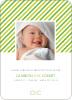 Diagonal Stripes Modern Baby Announcement - Paper Culture Green