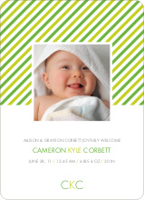 Diagonal Stripes Modern Baby Announcement - Paper Culture Green