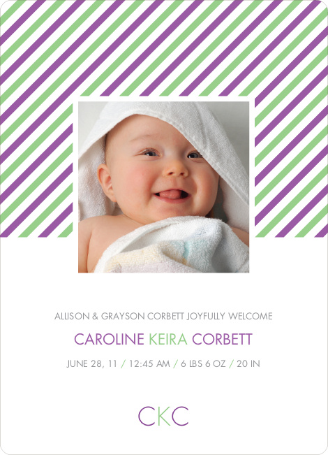 Diagonal Stripes Modern Baby Announcement - Grape Purple