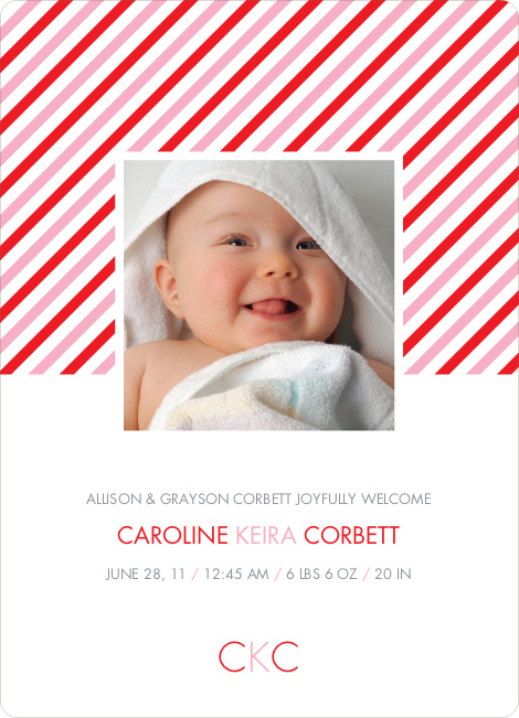 Diagonal Stripes Modern Baby Announcement - Candy Cane