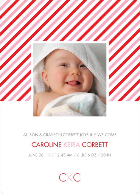 Diagonal Stripes Modern Baby Announcement - Candy Cane