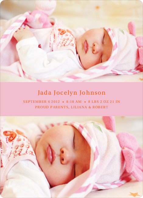 Photo Sandwich Birth Announcements - Pink Pebble