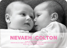 Cradle Talk Twin Photo Birth Announcements - Shocking Pink
