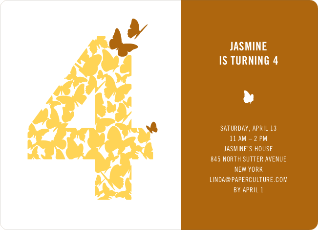 Flying Butterfly Modern Birthday Invitation - Rust