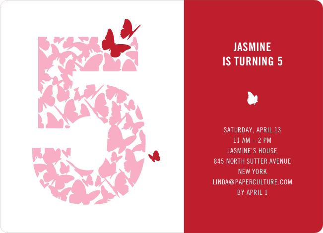 Flying Butterfly Modern Birthday Invitation - Cherry Red