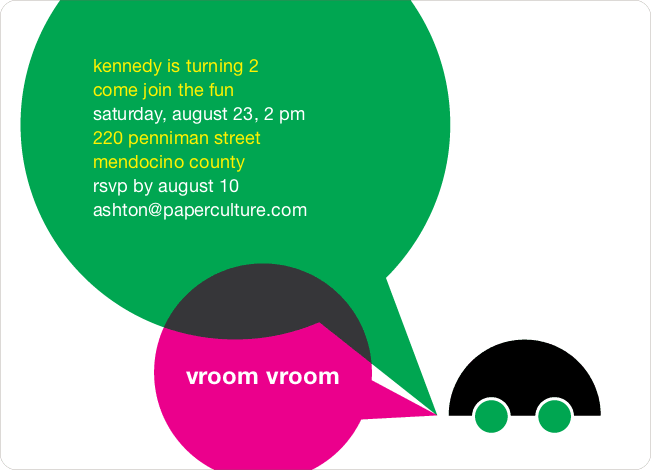Vroom Car Modern Birthday Invitation - Green