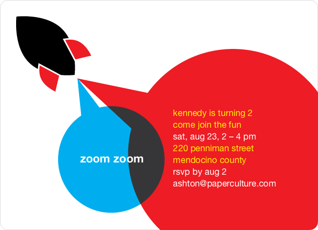 Rocket Launch Modern Birthday Invitation - Red