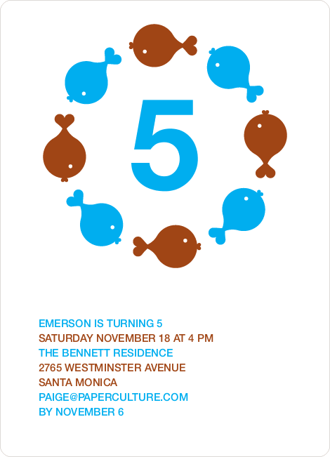 Fish Kaleidoscope Modern Birthday Invitation - Cyan