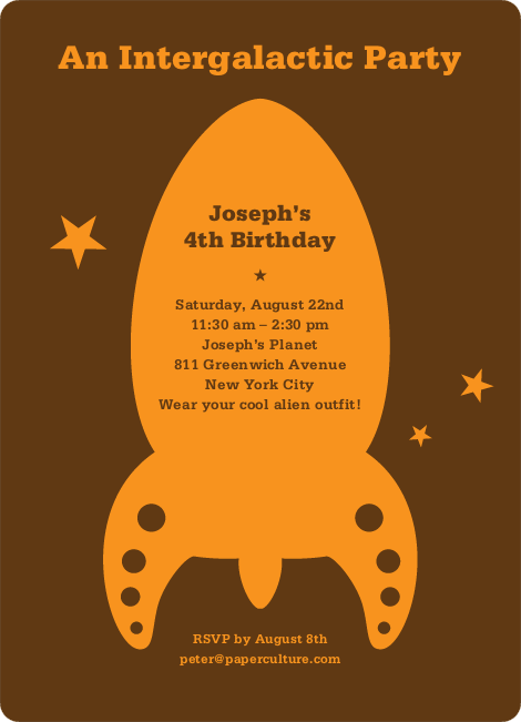 Intergalactic Modern Birthday Invitation - Coffee
