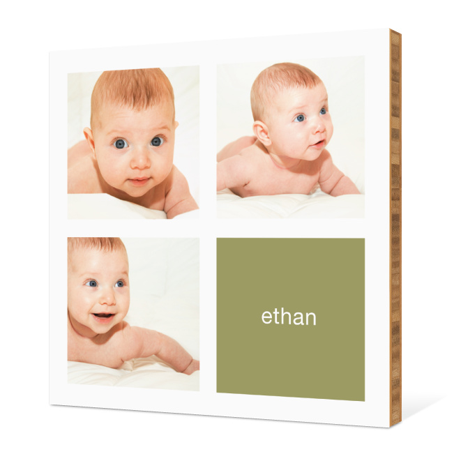 All Square Photo Bamboo Wall Art - Pale Olive