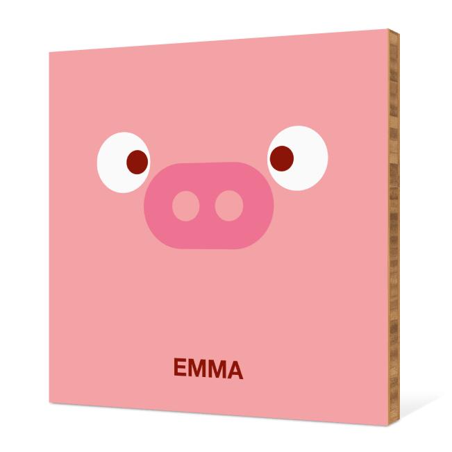 Pig Face Modern Wall Art - Piglet Pink