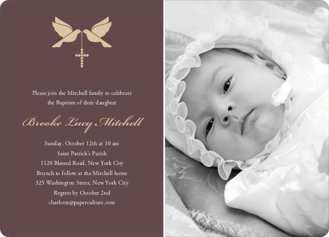 Dove and the Holy Spirit Baptism Invitations - Yellow