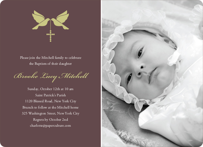 Dove and the Holy Spirit Baptism Invitations - Greenish Yellow