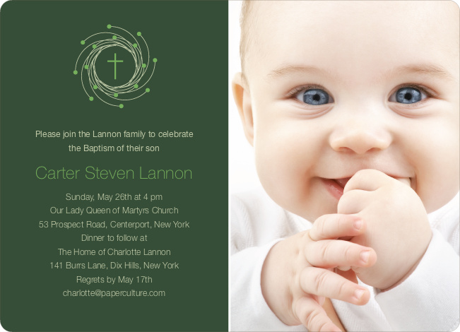 Christmas and Holiday Baptism Invitation - Light Green