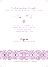 Elegant Candle Baptism Invitation - Purple