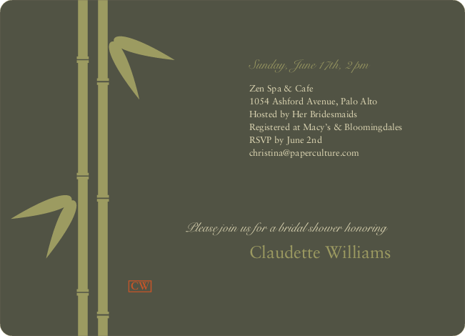 Bamboo Zen Bridal Shower Invitations - Khaki