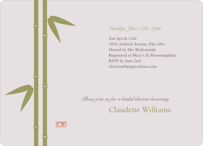 Bamboo Zen Bridal Shower Invitations - Pale Lavender