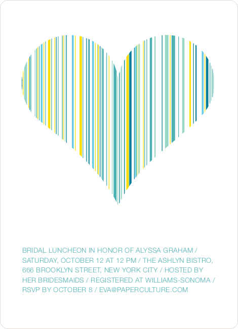 True Love Bridal Shower Invitations - Aqua