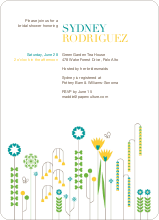 Spring Beauty Flower Shower Invites - Teal