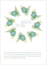 Flower Wreath Bridal Shower Invites - Teal