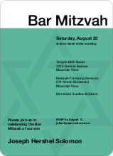 Mazel Tov Bar and Bat Mitzvah Invites - Sea Green