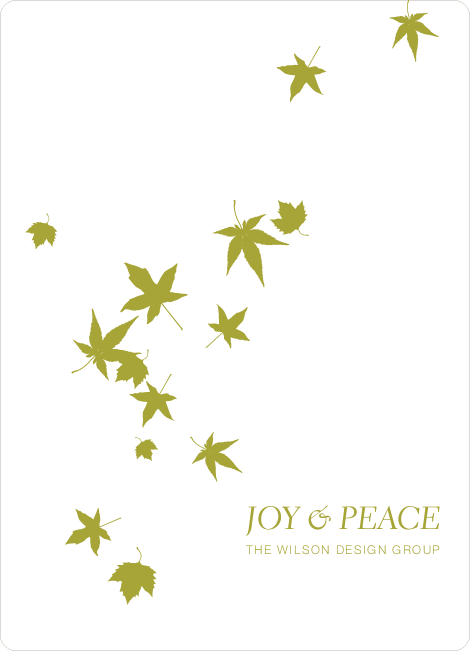 Falling Leaves Holiday Cards - Chartreuse