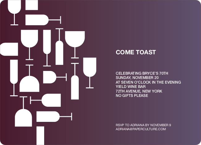 Wine Toast Party Invitation - Grape