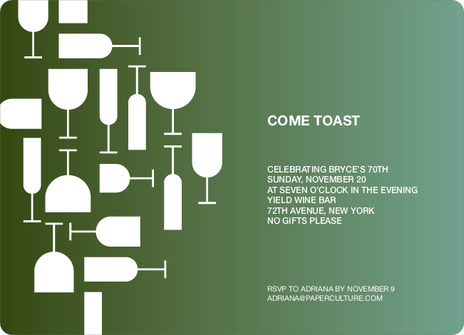 Wine Toast Party Invitation - Camouflage